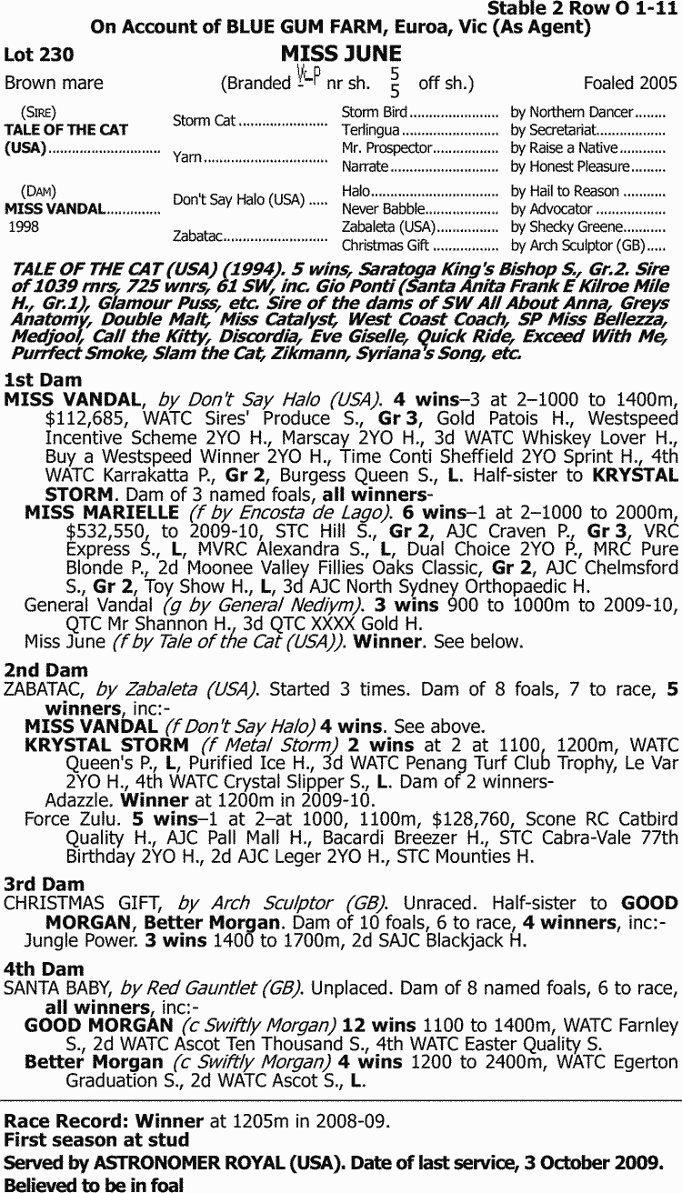 Inglis - 2010 Australian Easter Broodmare Sale - Lot 230, Miss June 4e2393bd2a85