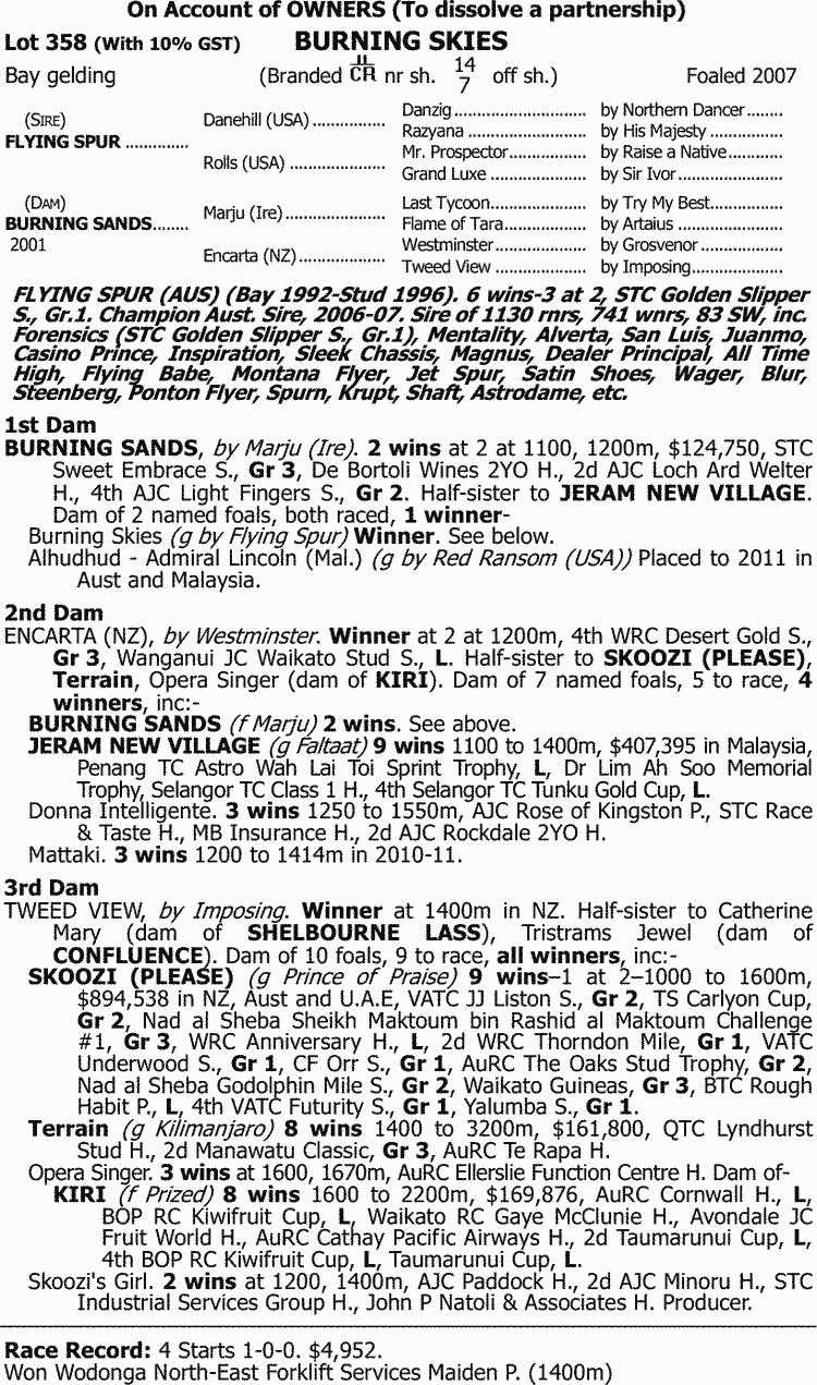 Inglis 2011 August Thoroughbred Sale Lot 358 Burning Skies Ceres Classic 225 Gr Withdrawn