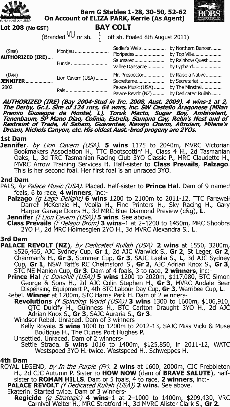 Inglis - 2013 Melbourne Premier Yearling Sale - Lot 208, Authorized