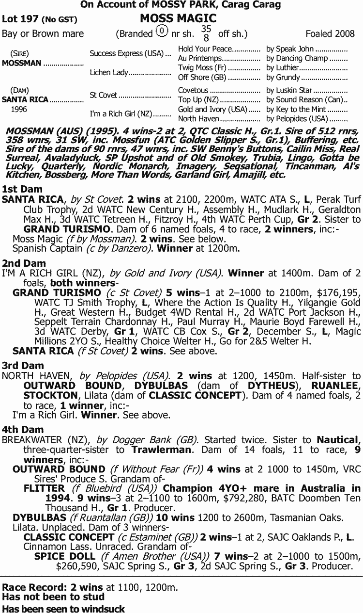 Inglis - 2015 March Thoroughbred Sale - Lot 197, Moss Magic