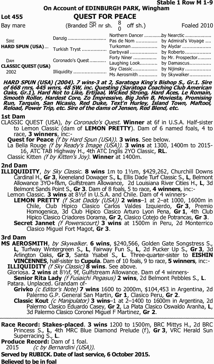 b12569feded3d Inglis - 2016 Australian Broodmare and Weanling Sale - Lot 455 ...