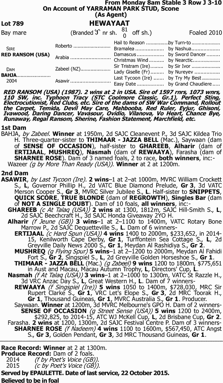 316bd6e1a371 Inglis - 2016 Australian Broodmare and Weanling Sale - Lot 789