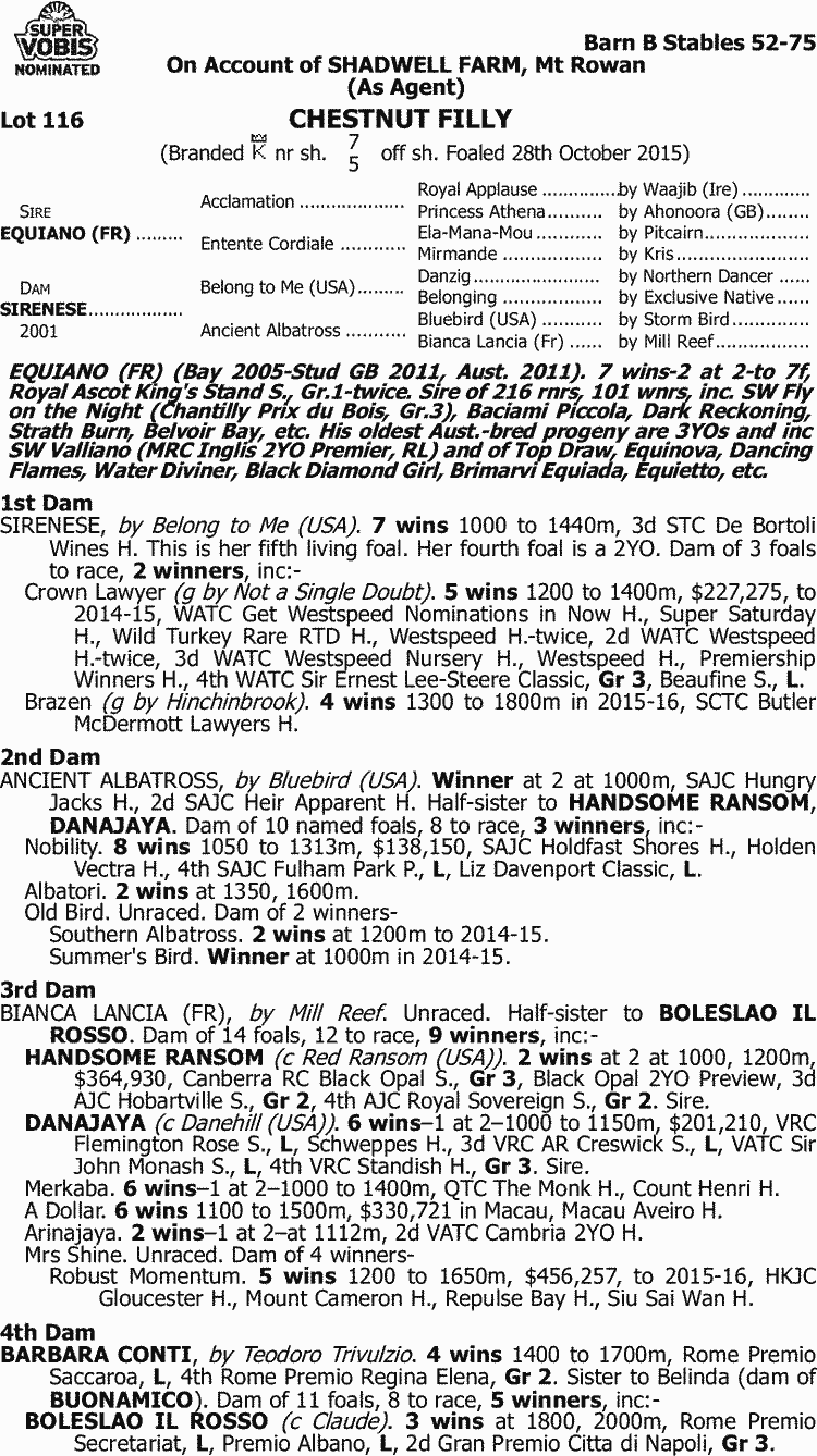 Inglis - 2016 Great Southern Sale - Lot 116, Equiano (FR) x Sirenese 47a372821e4d