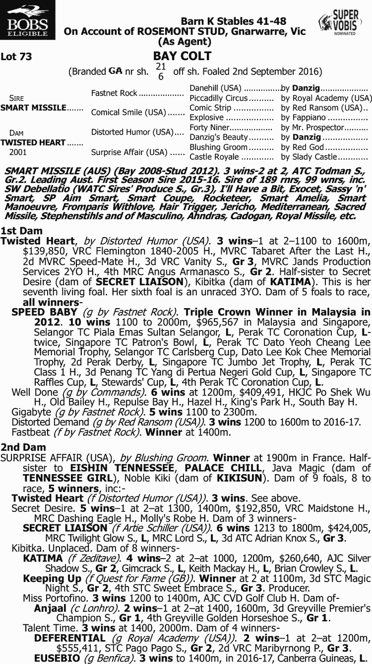 Inglis - 2018 Classic Yearling Sale - Lot 73, Smart Missile x ...