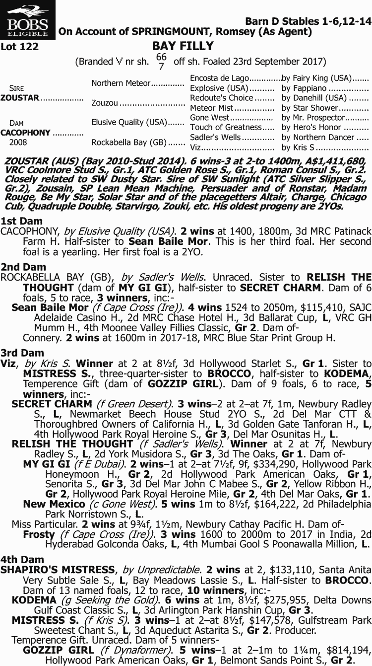 Inglis - 2018 Great Southern Sale - Lot 122, Zoustar x Cacophony