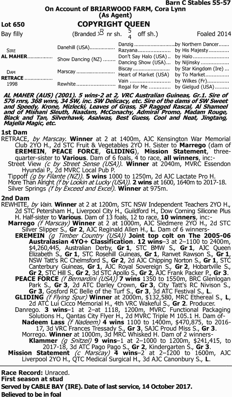 Inglis - 2018 Great Southern Sale - Lot 650, Copyright Queen